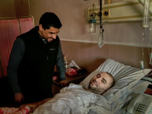 Rami con p Rodrigo en el Hospital (Rami siempre sonriendo!)