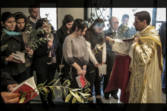 Celebración del Domingo de Ramos en Alepo, Siria