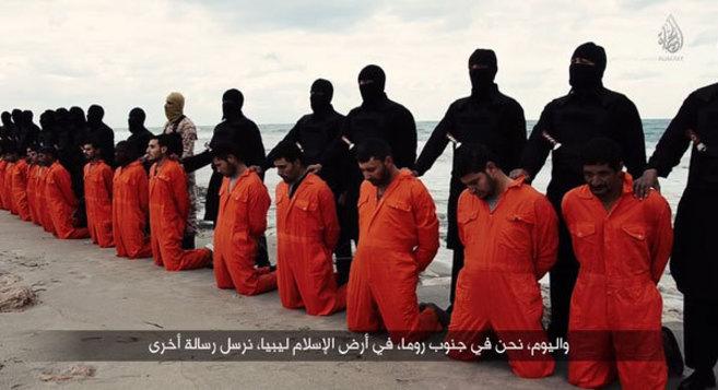 Fotograma del vídeo de los mártires coptos.
