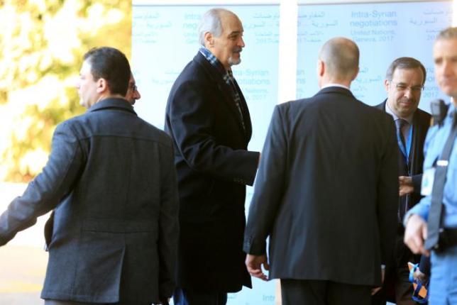 Syrian Ambassador to the U.N. Bashar al Jaafari (C) arrives at the United Nation in Geneva, Switzerland, February 23, 2017. REUTERS/Pierre Albouy